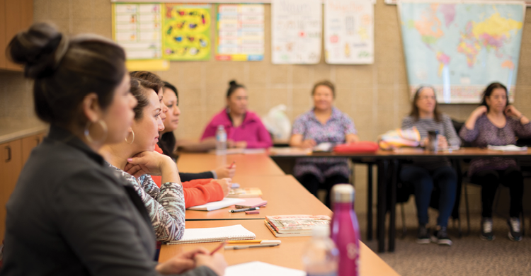 English as a Second Language (ESL) classes teach writing, reading, speaking, and listening comprehension skills to adult English language learners.