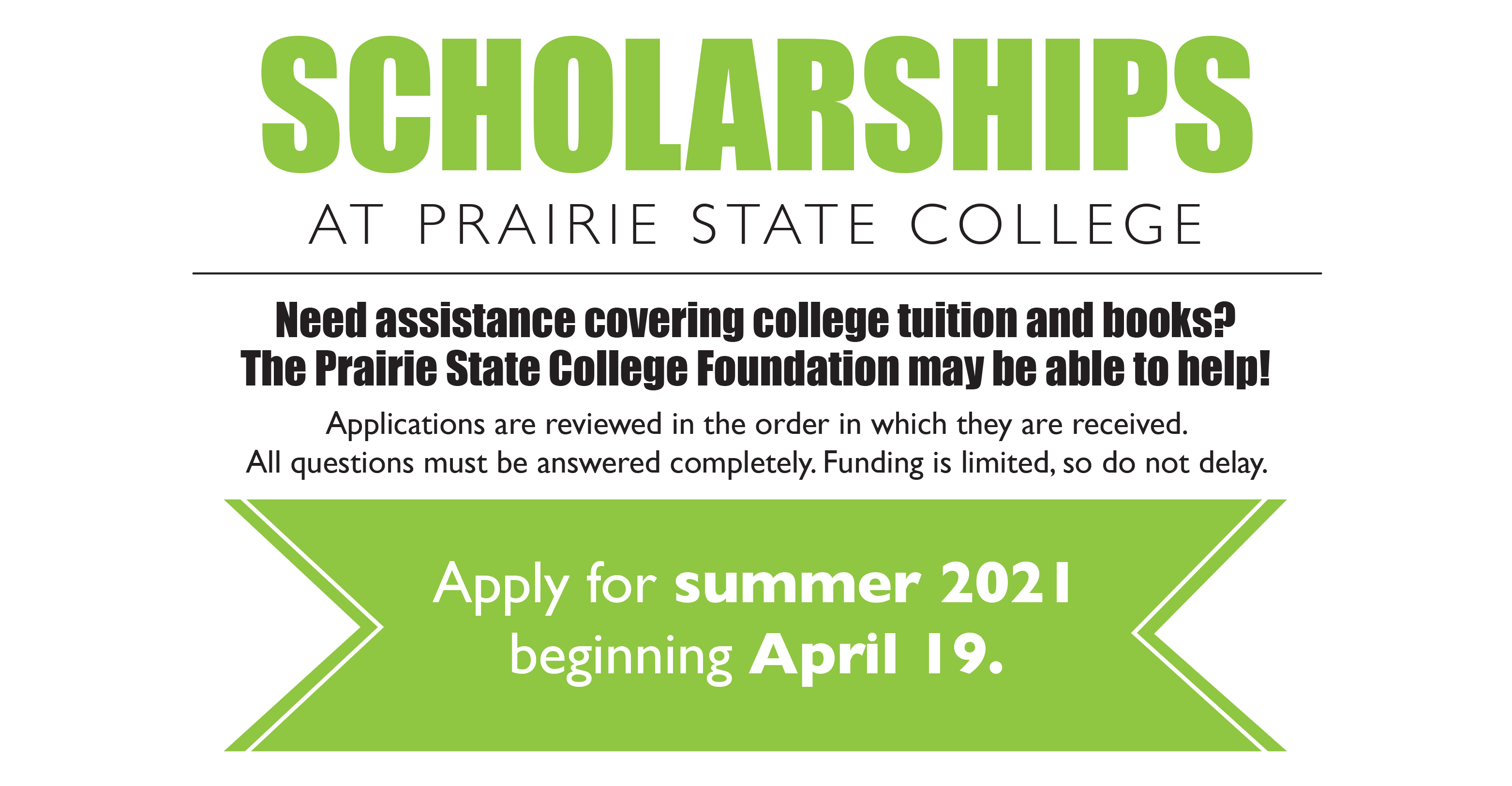 Apply for Summer 2021 scholarships beginning on April 19th