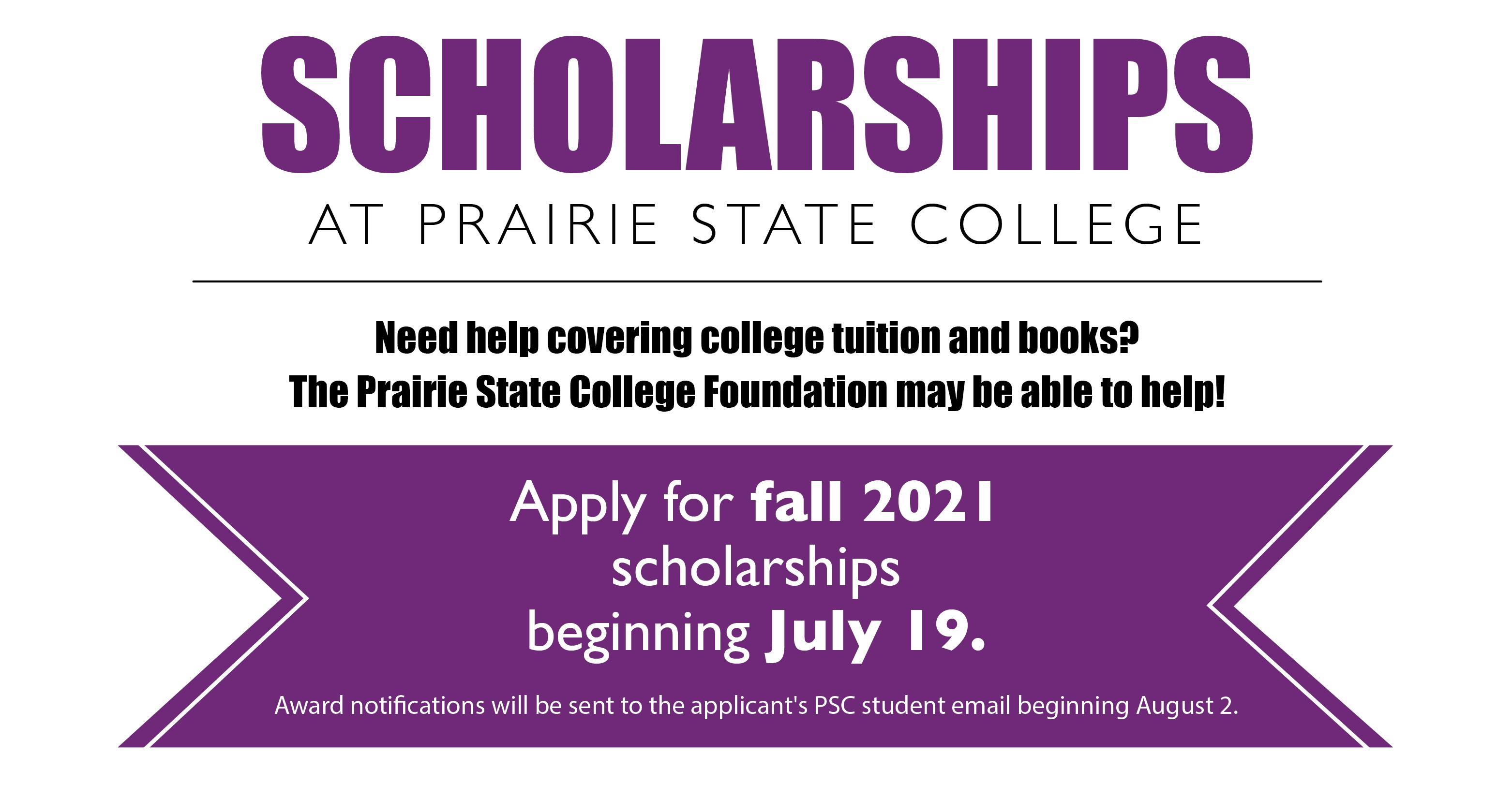 Apply for Fall 2021 scholarships beginning July 19.