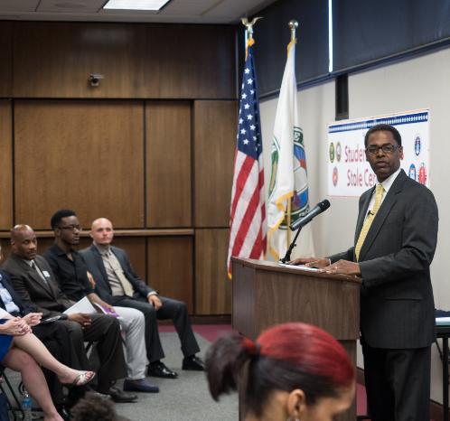 Dr. Richard Doss, speaking at Veterans Stole Ceremony