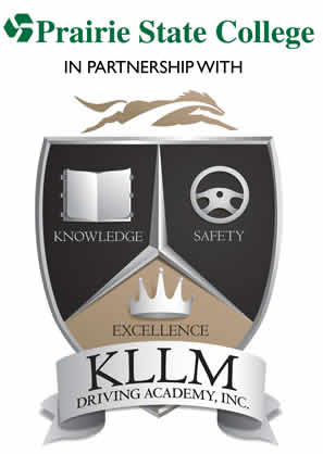 KLLM Driving Academy Logo: shield with knowledge, safety, excellence