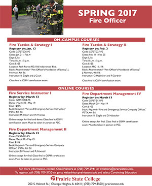 Fire Science Spring 2017 Courses
