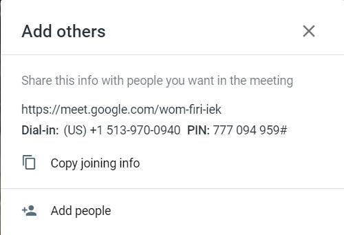 Google Meet screenshot of adding users to meetings via dial in