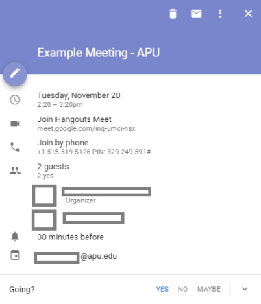 Google Meet example calendar appointment