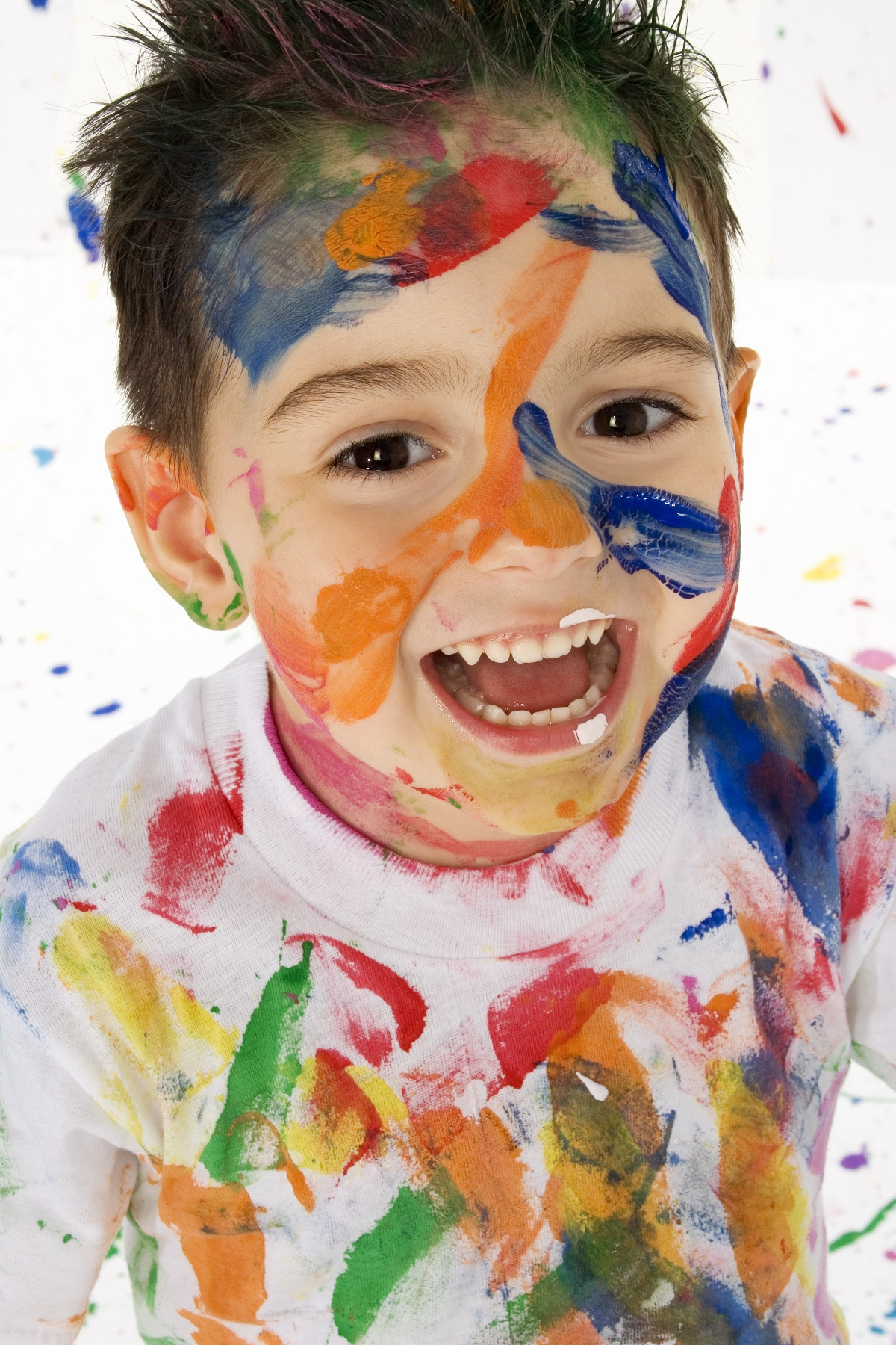 Little Boy Covered in Paint