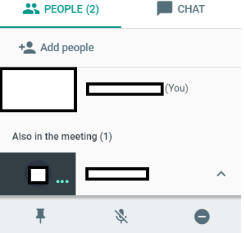Google Meet screenshot of managing people in a teleconferencing call